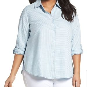 Foxcroft | Pinstripe Denim Button Down Shirt